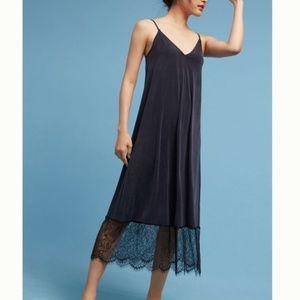Anthro Eri + Ali Black Lace Hem Slip Dress